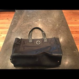 Tory Burch black nylon fold up tote.